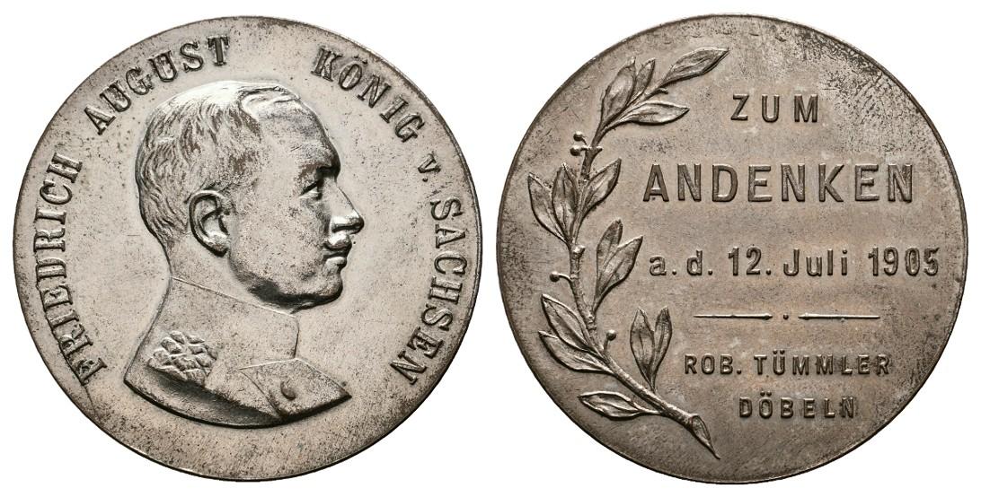 Linnartz Sachsen Friedrich August III. versilberte Bronzemedaille 1905 R! vz Gewicht: 24,5g