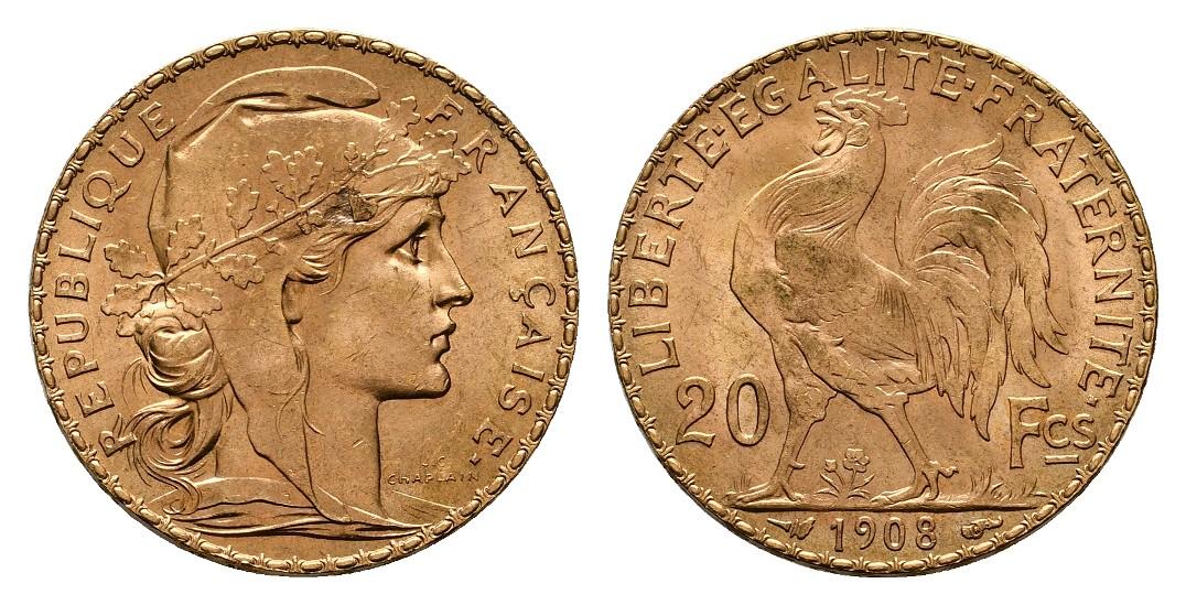 Linnartz Frankreich 20 Francs 1908 fstgl Gewicht: 6,45g/900er