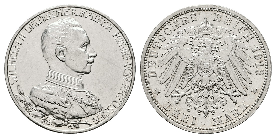 Linnartz KAISERREICH Preussen Wilhelm II. 3 Mark 1913 A Uniform vz-stgl