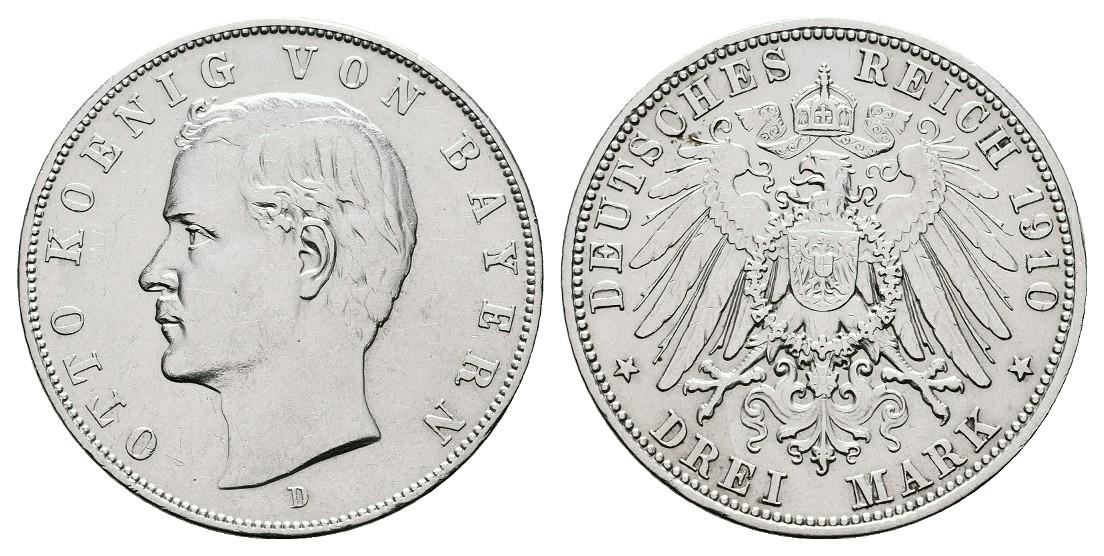 Linnartz KAISERREICH Bayern Otto 3 Mark 1910 D vz