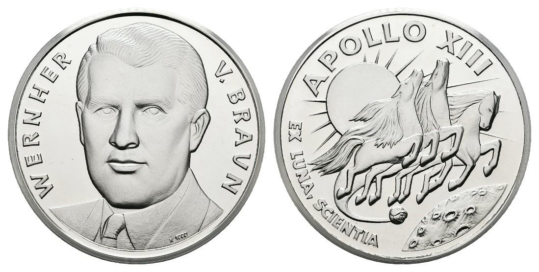 Linnartz Raumfahrt Silbermedaille o.J. Wernher von Braun/Apollo XIII PP Gewicht: 24,9g/1.000er